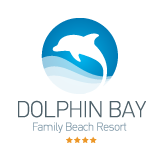 The logo for the Dolphin Bay Family Beach Resort Hotel in Galissas on the island of Syros.