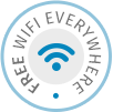 Free Wi-Fi internet throughout the Dolphin Bay Family Beach Resort Hotel in Galissas, Syros